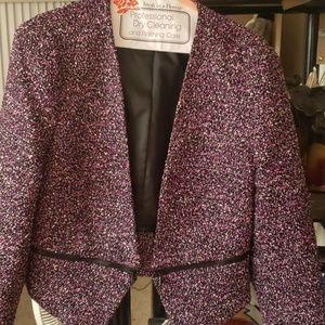Calvin Klein cropped pink tweed blazer size 12